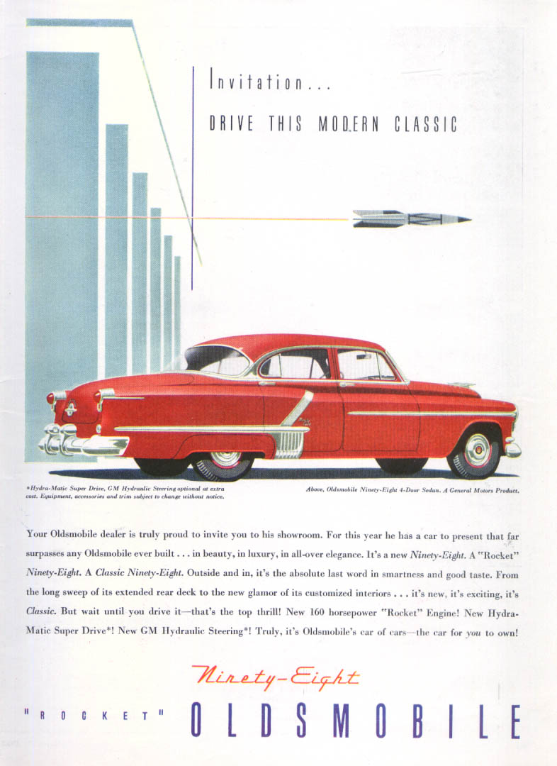Image for Invitation Drive Modern Classic Oldsmobile 98 ad 1952