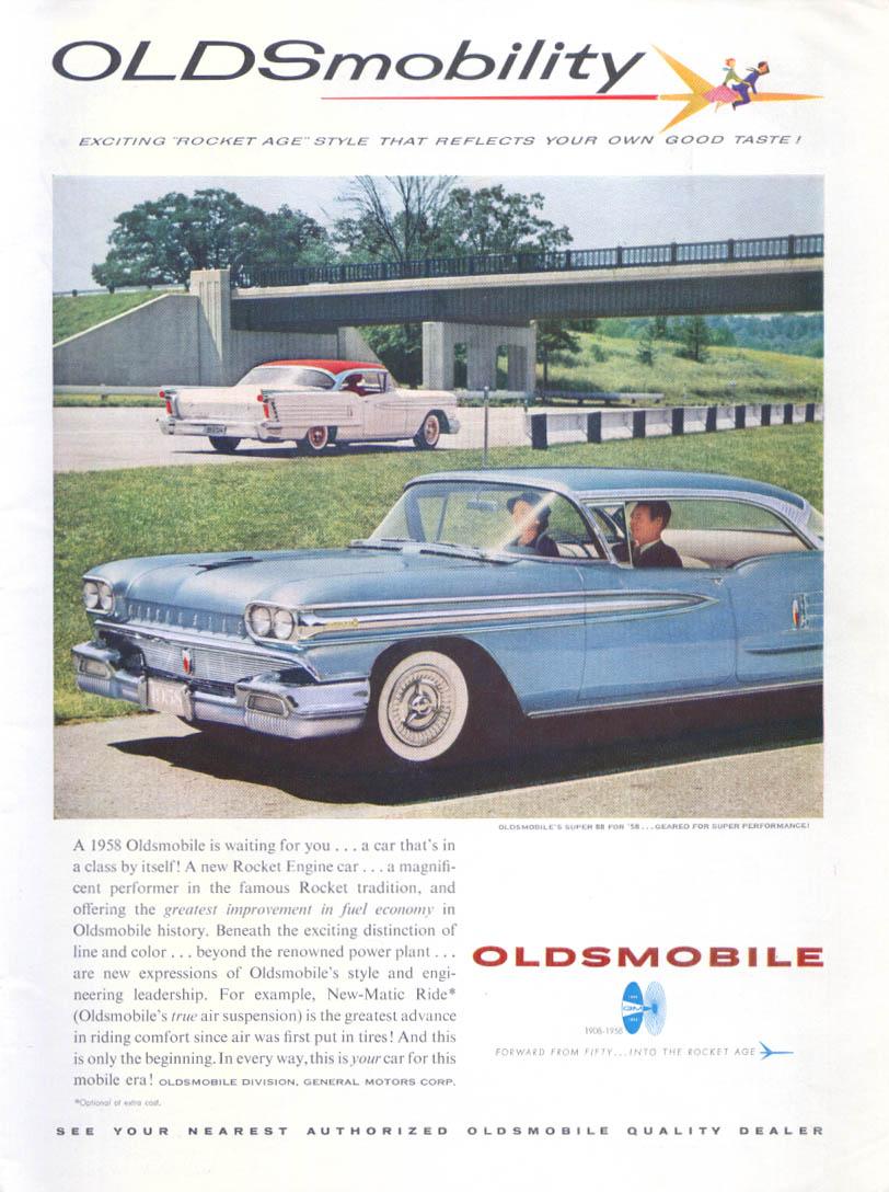 Oldsmobility Rocket Age Oldsmobile Super 88 ad 1958