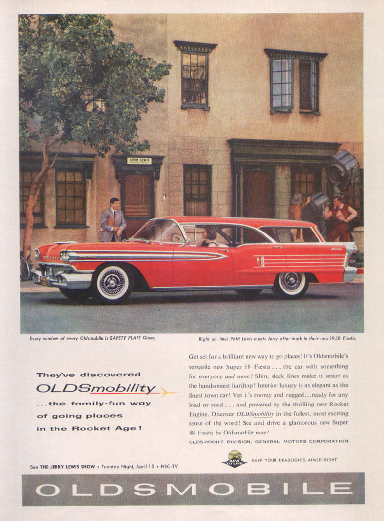 Jerry Lewis Oldsmobile Super 88 Fiesta ad 1958