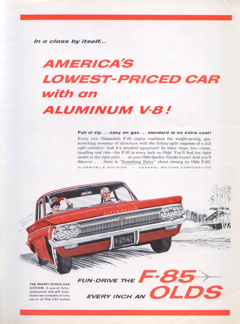 Aluminum V-8 Oldsmobile F-85 ad 1962