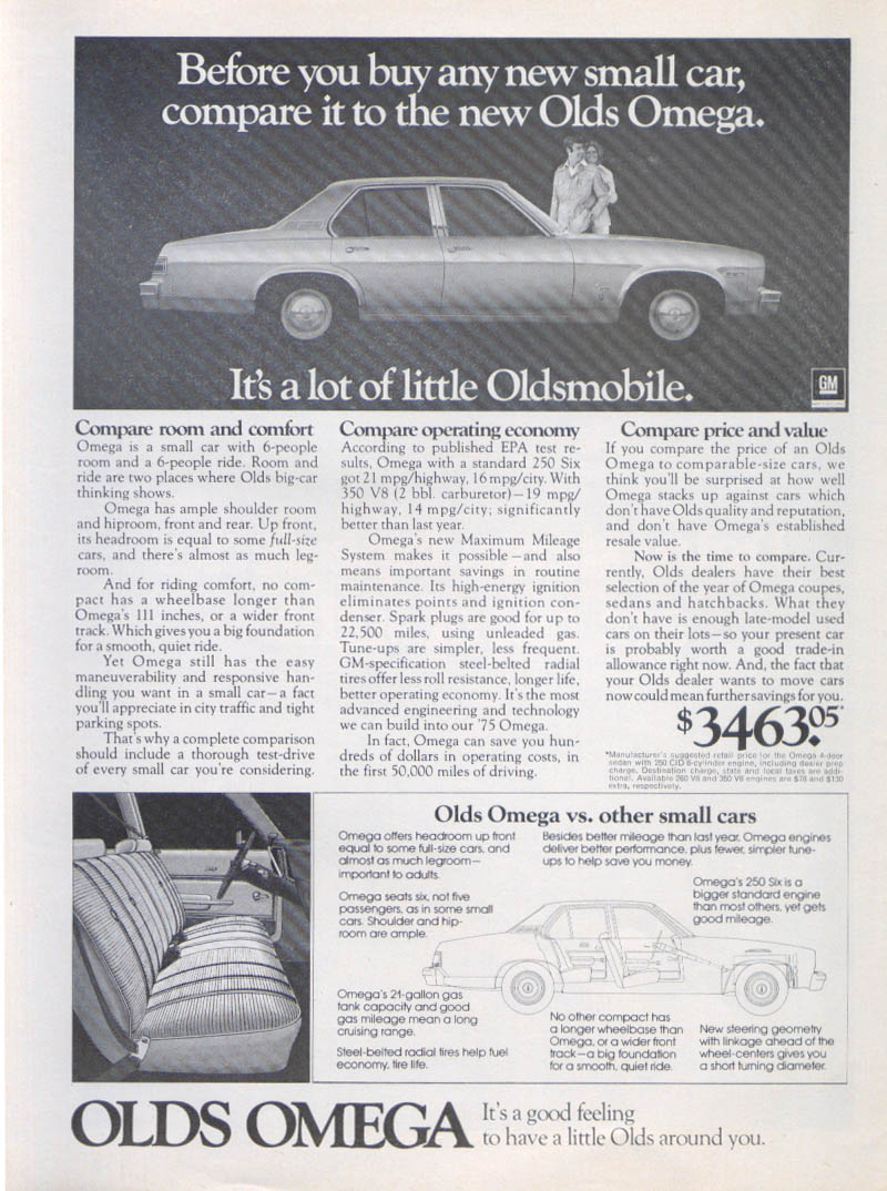 A lot of little Oldsmobile Omega ad 1975