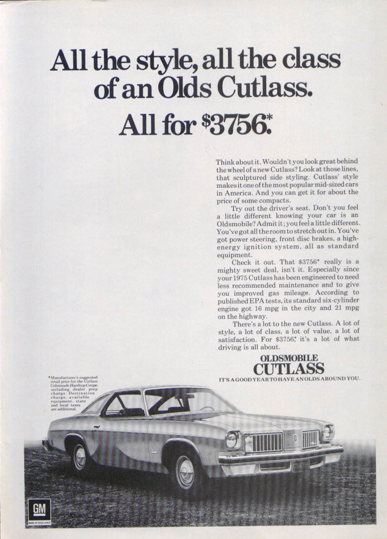 All the style, class Oldsmobile Cutlass ad 1975