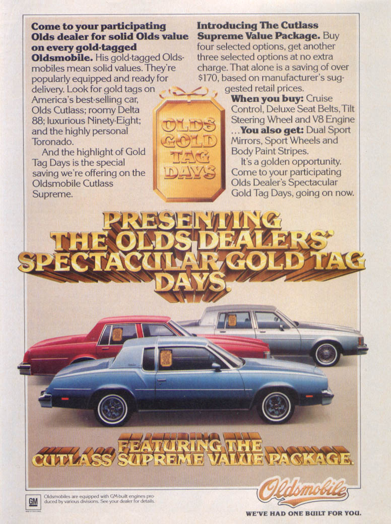 Oldsmobile Cutlass Supreme Value Package ad 1980