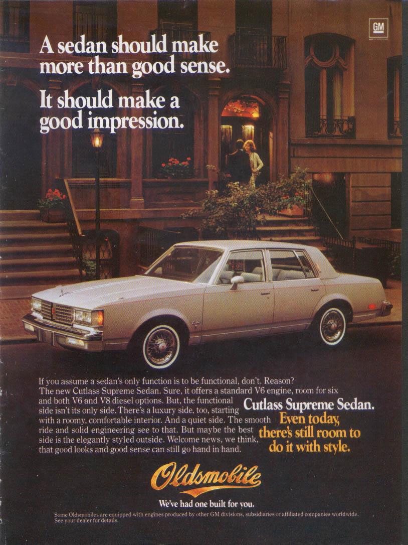 Impression Oldsmobile Cutlass Supreme Sedan ad 1982