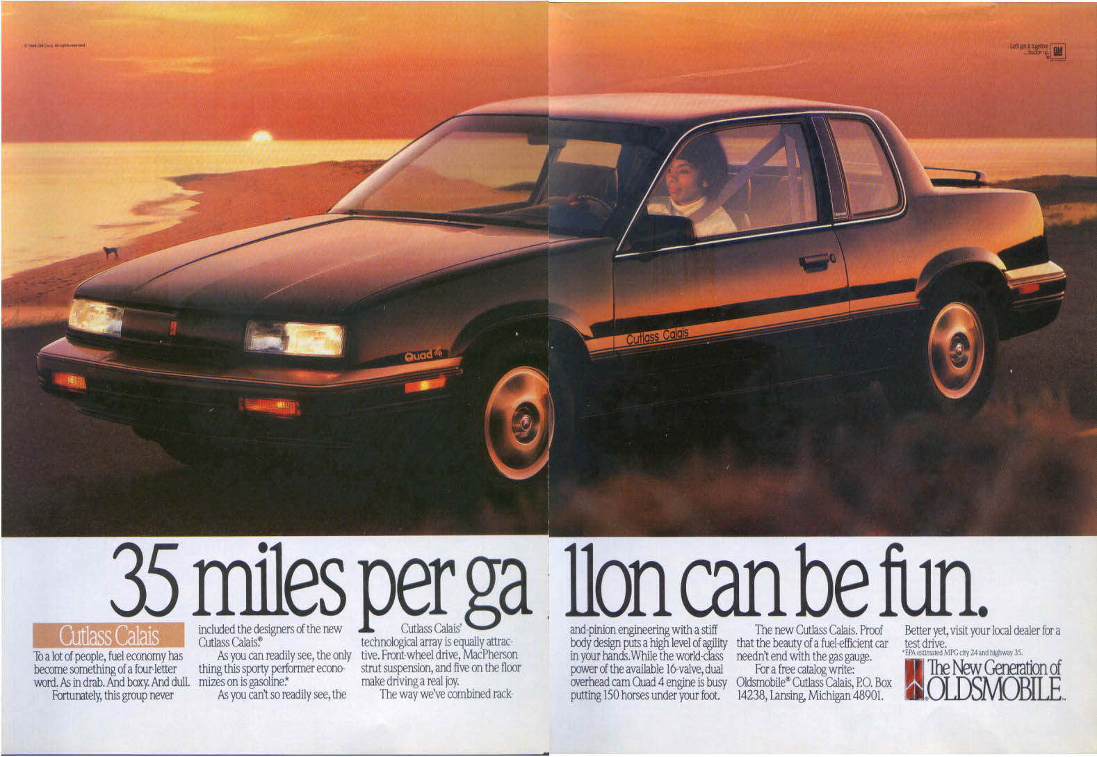 35 miles per gallon Oldsmobile Cutlass Calais ad 1989