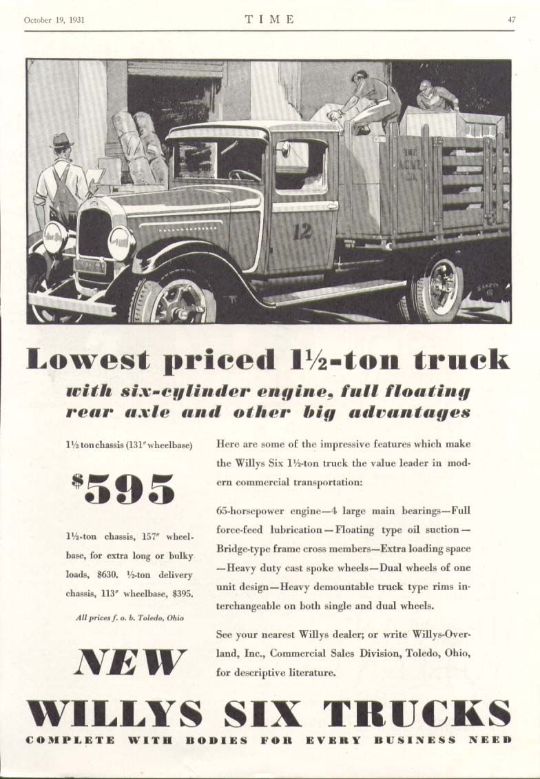 Image for Willys Six 1 1/2 ton chassis stake truck ad 1931