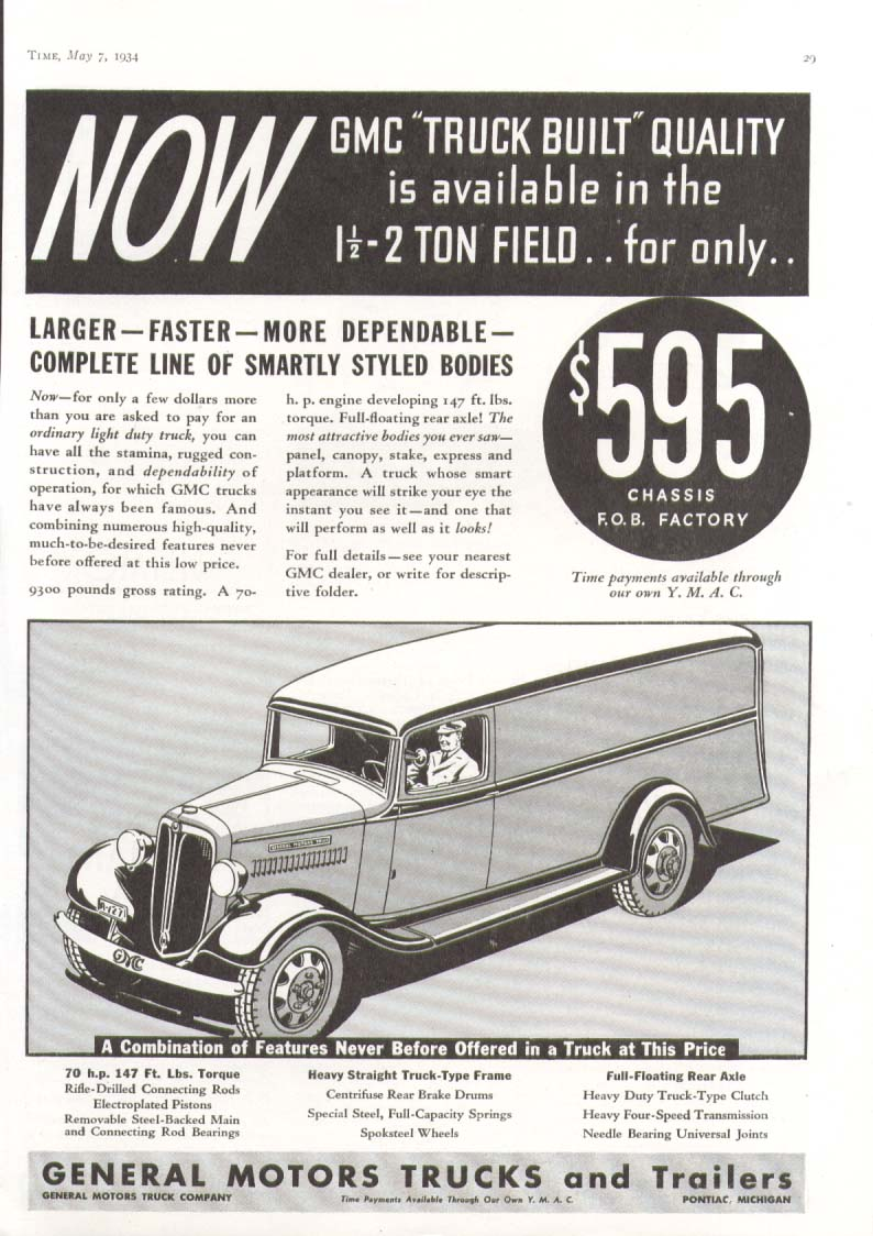 General Motors panel delivery truck ad 1934