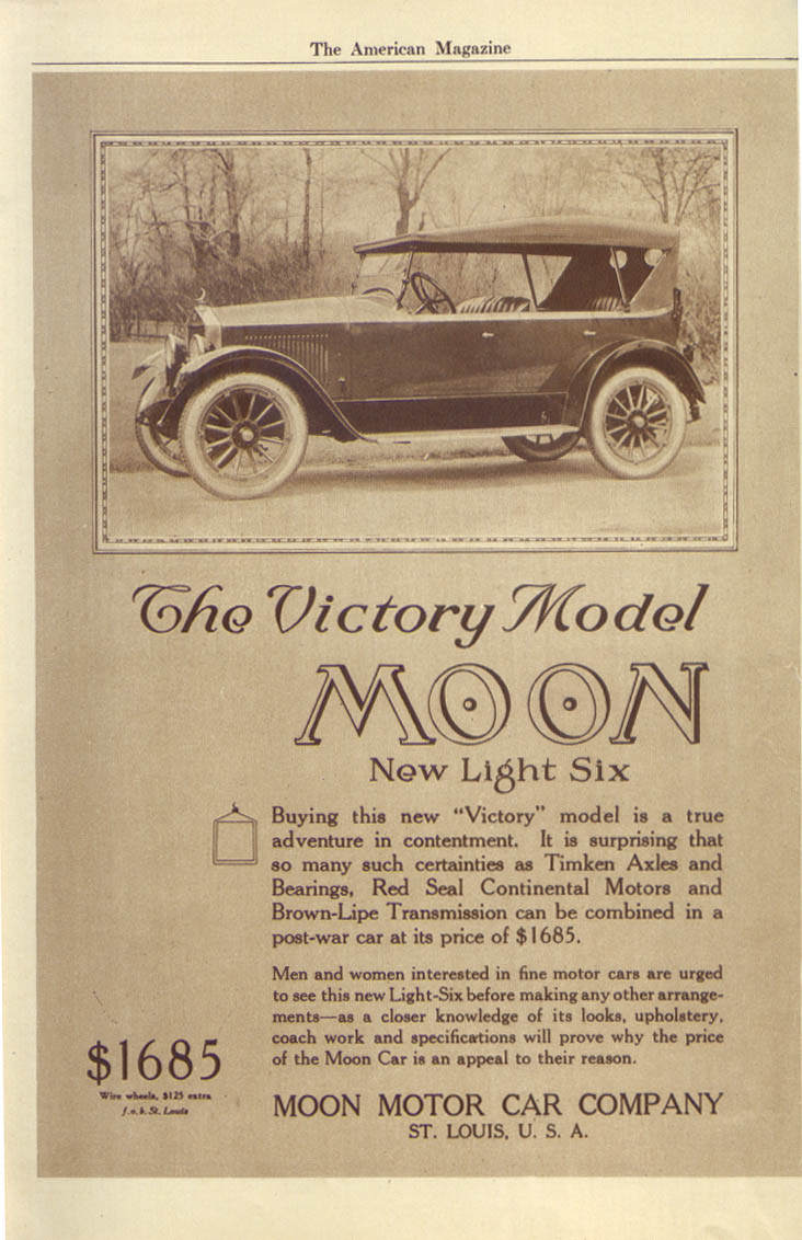 Image for Victory Model Moon New Light Six auto ad