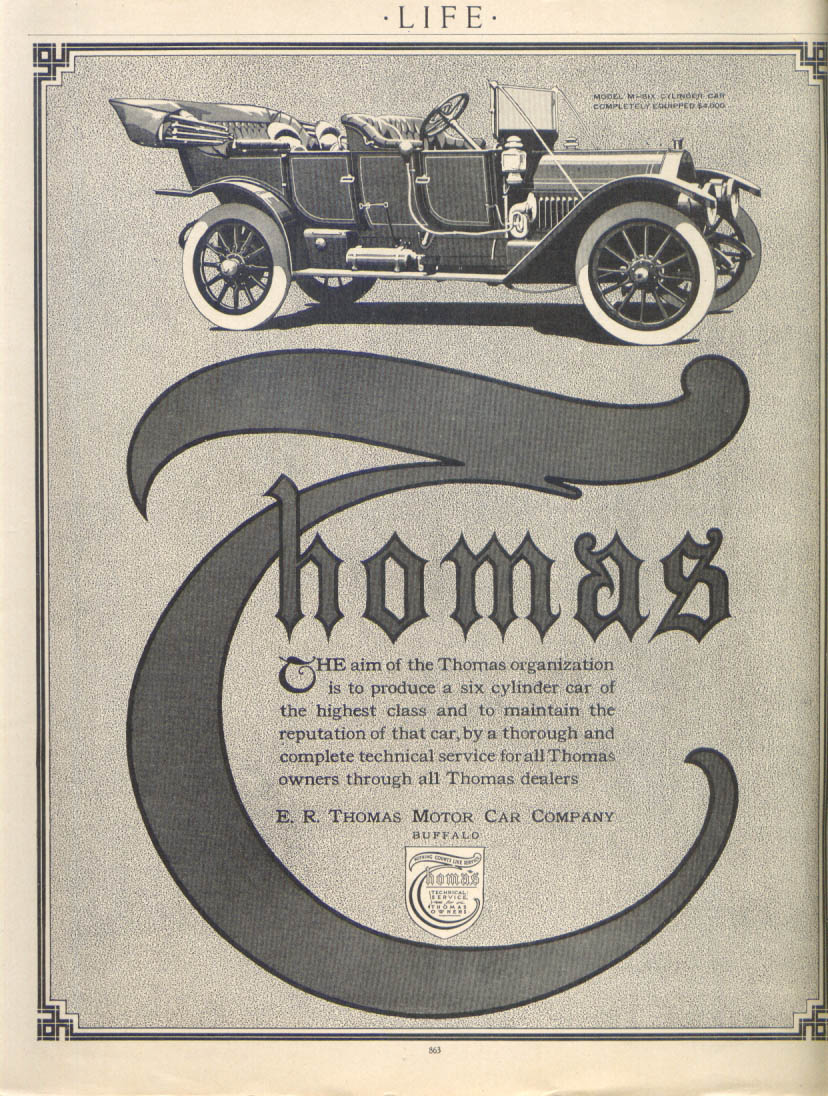 Image for Six cylinder car of highest class Thomas ad 1911