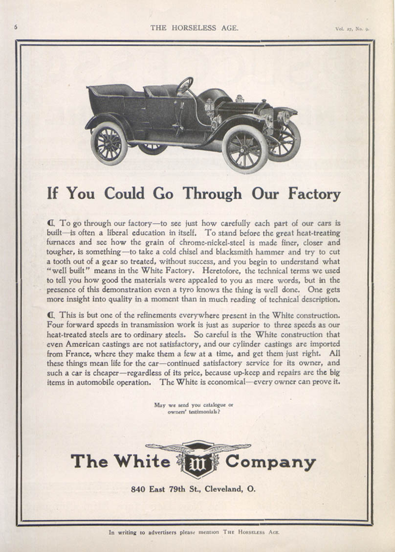 Image for If You Could Go Through Our Factory White car ad 1911