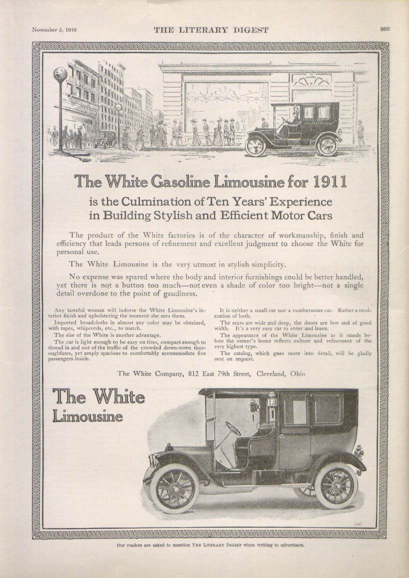 Image for The Culmination - White Gasoline Limousine for 1911 ad