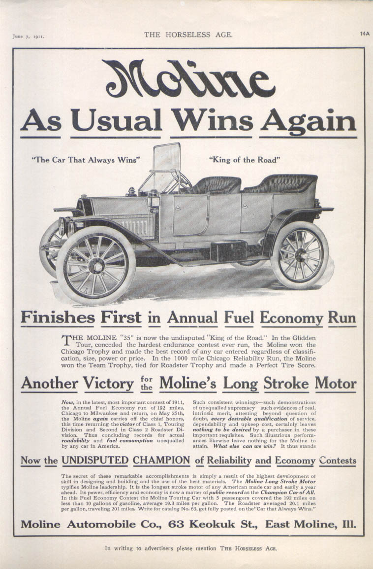 Image for Moline As Ususal Wins Again auto ad 1911