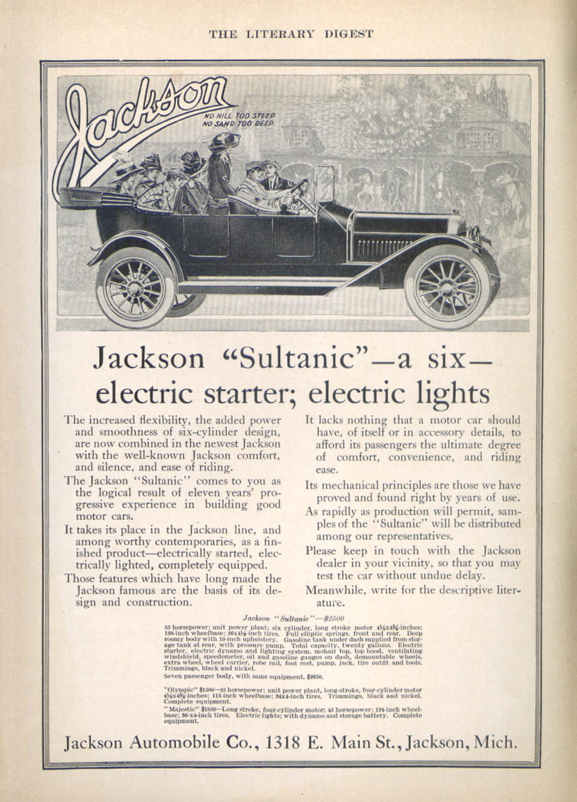 Image for Electric starter & lights Jackson Sultanic car ad 1912
