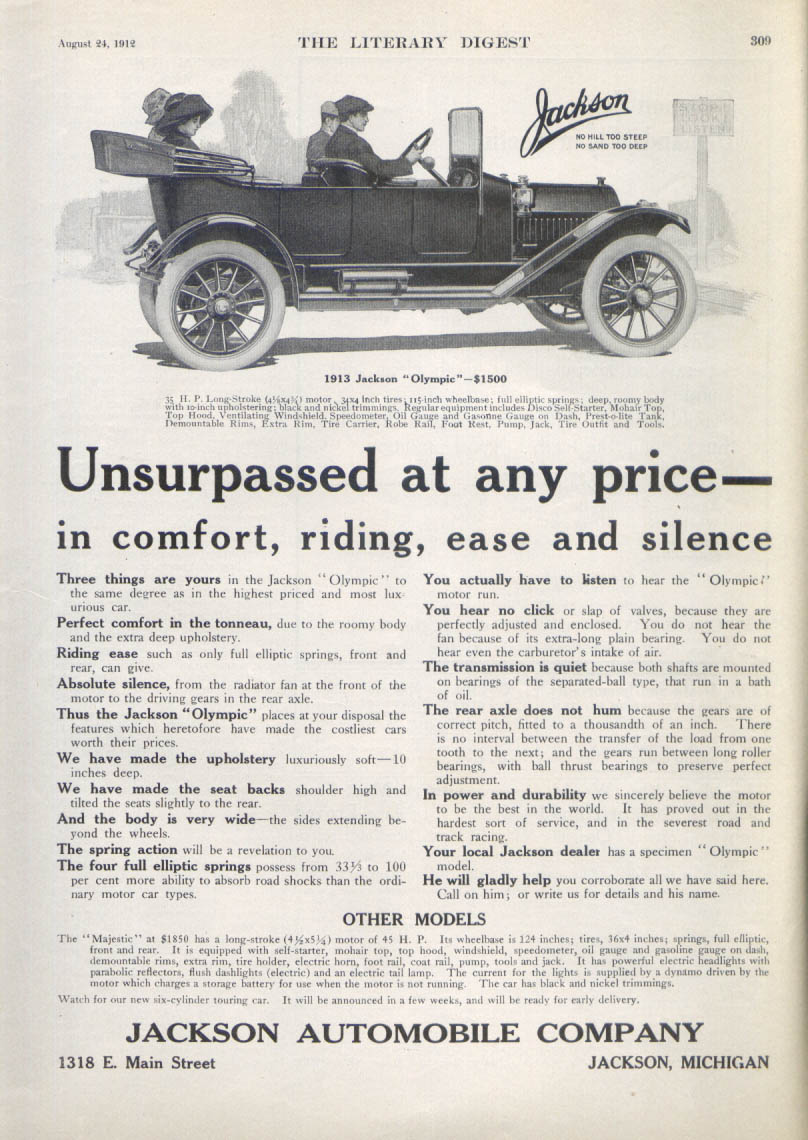 Image for Unsurpassed at any price Jackson Olympic car ad 1912