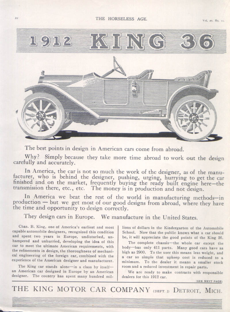 Image for The best points in design 1912 King 36 car ad