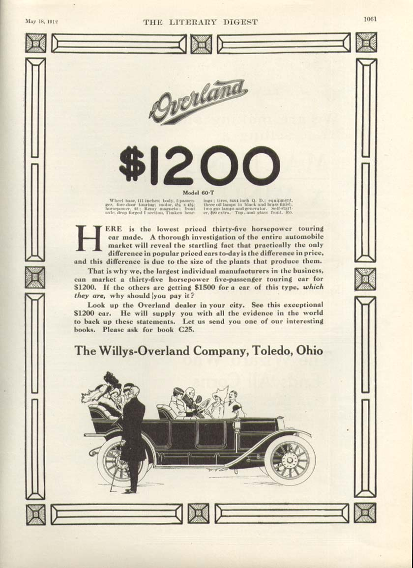Image for Model 60-T Overland $1200 Willys-Overland ad 1912
