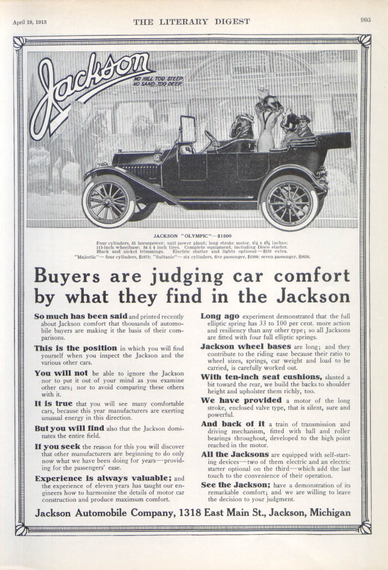 Buyers are judging car comfort Jackson Olympic ad 1913