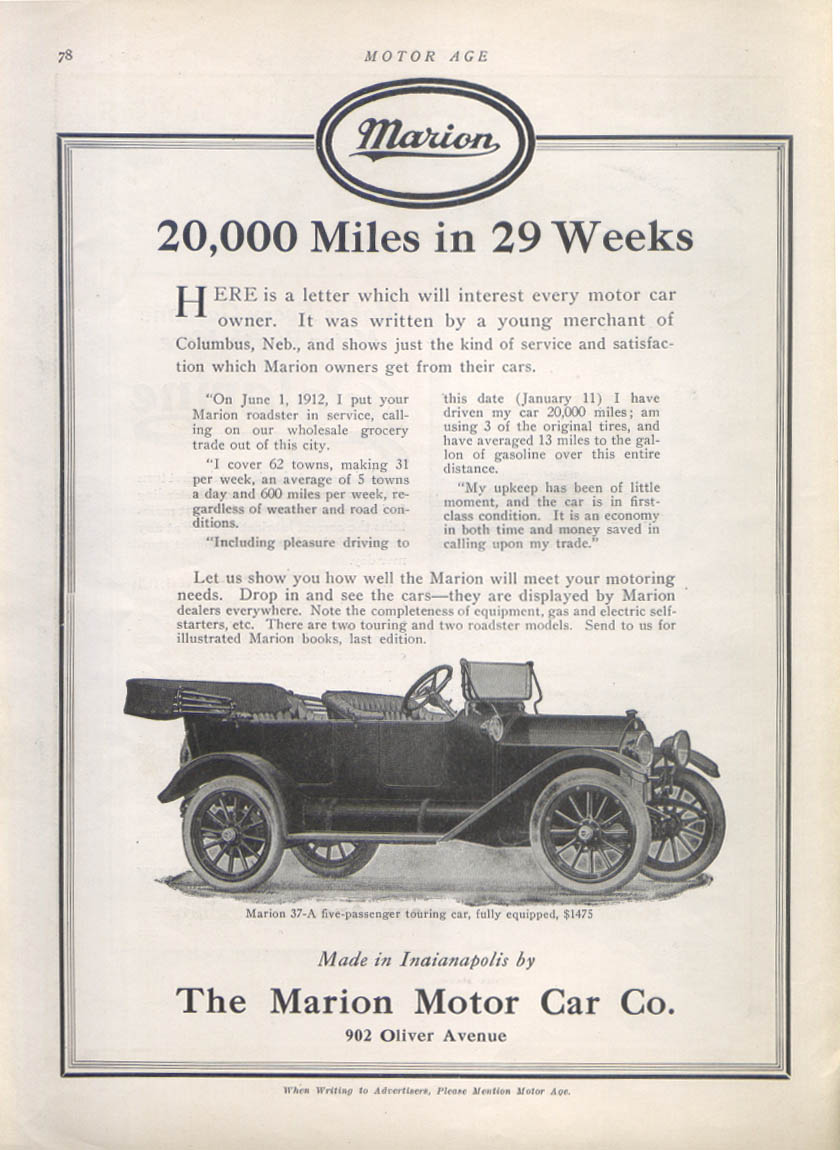 20,000 Miles in 20 Weeks - Marion auto ad 1913