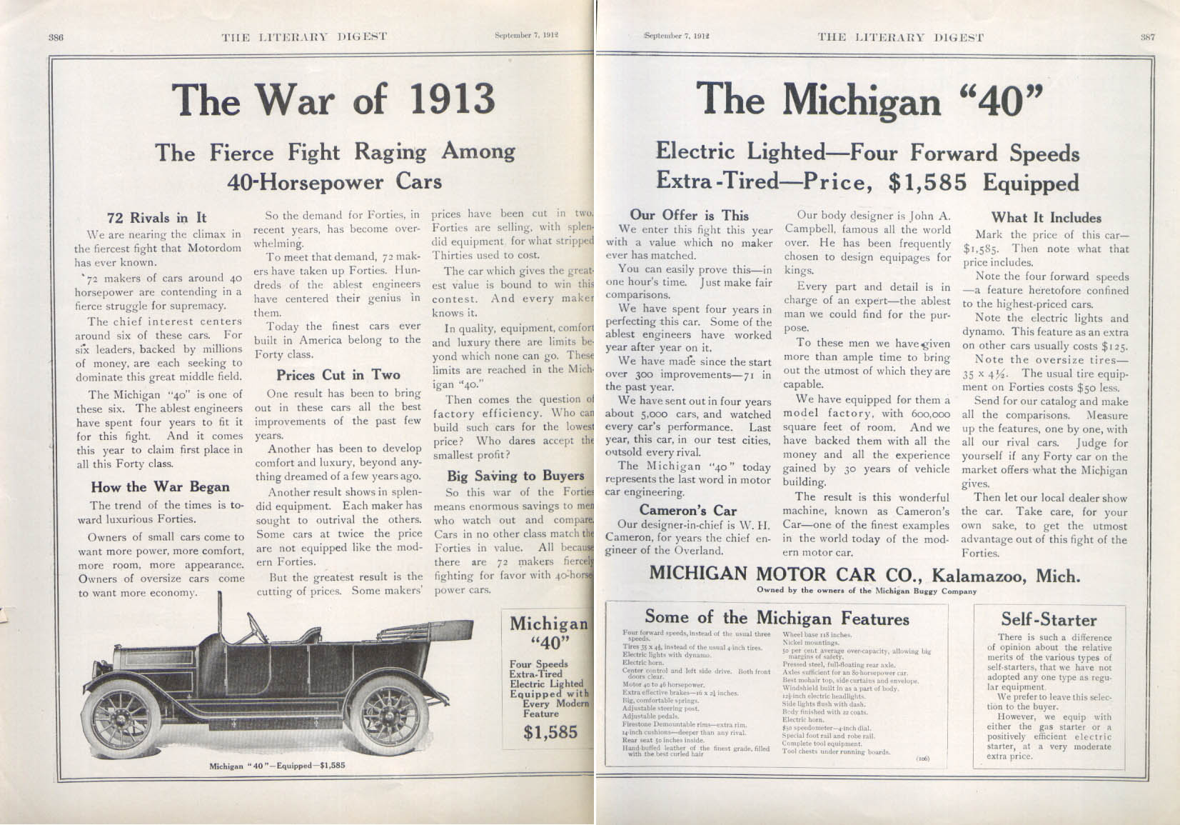 "Image for The War of 1913 The Michigan ""40"" auto ad 1913"