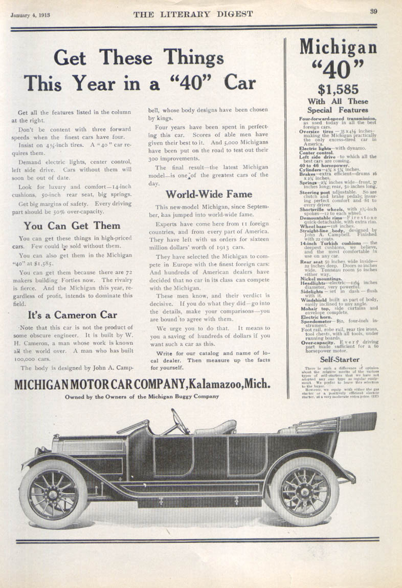 "Image for Get These Things in a ""40"" Car Michigan auto ad 1913"