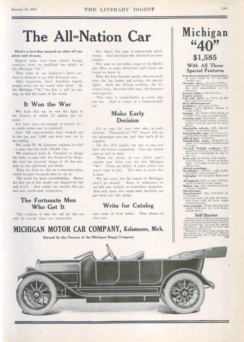 Image for The All-Nation Car Michigan auto ad 1913