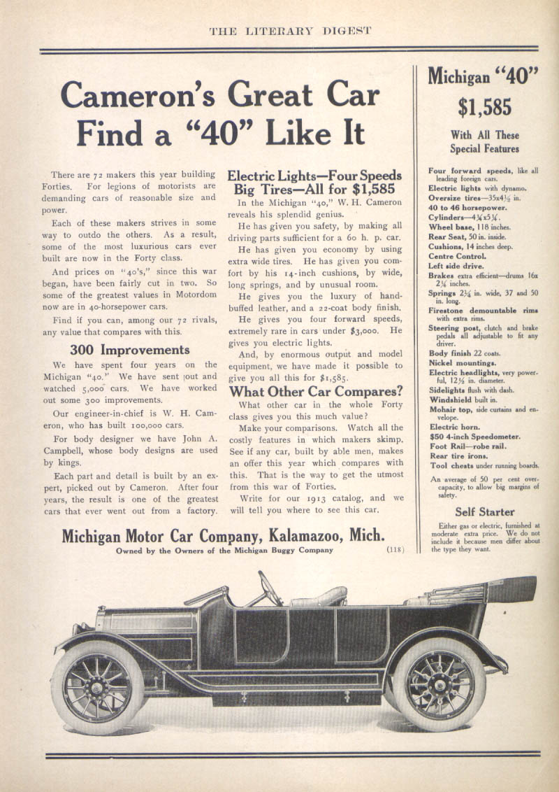 "Image for Cameron's Great Car Michigan ""40"" auto ad 1913"