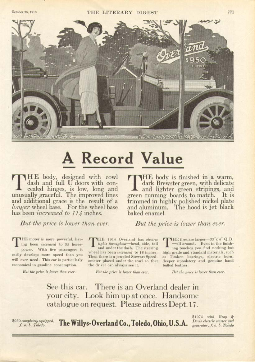 A Record Value Willys-Overland $950 ad 1914