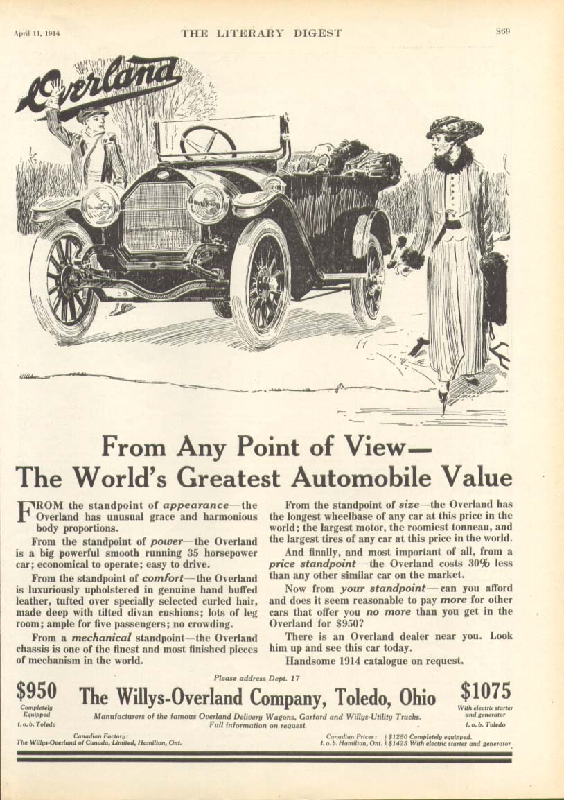 Image for From Any Point of View Willys Overland ad 1914
