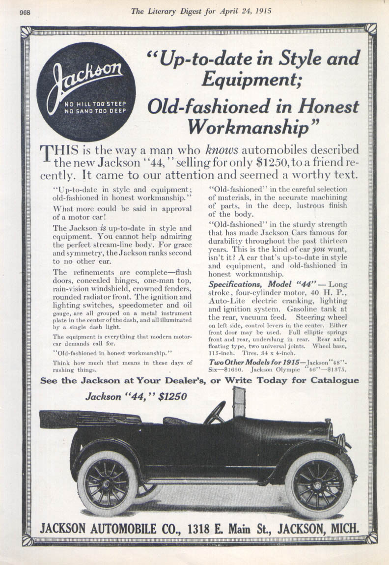 Jackson 44 car ad 1915