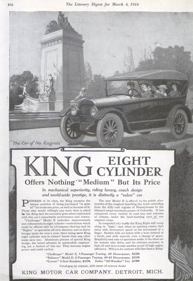 Offers Nothing Medium But Price King car ad 1916