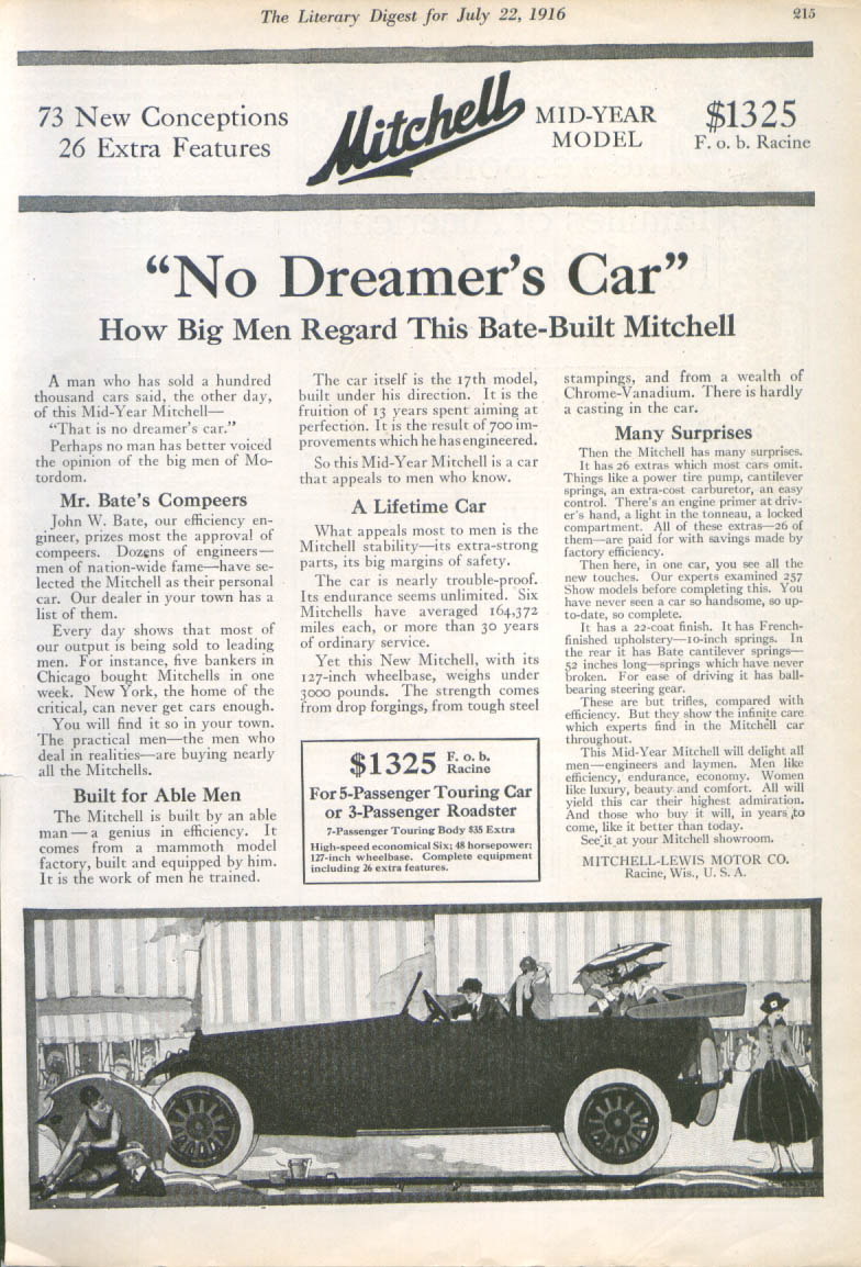 Image for No Dreamer's Car Bate-Built Mitchell auto ad 1916