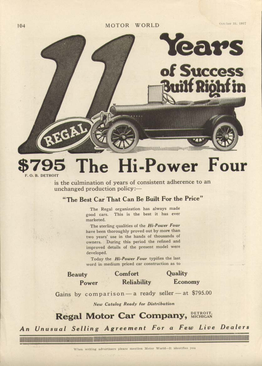 11 Years of Success Regal Hi-Power Four ad 1917