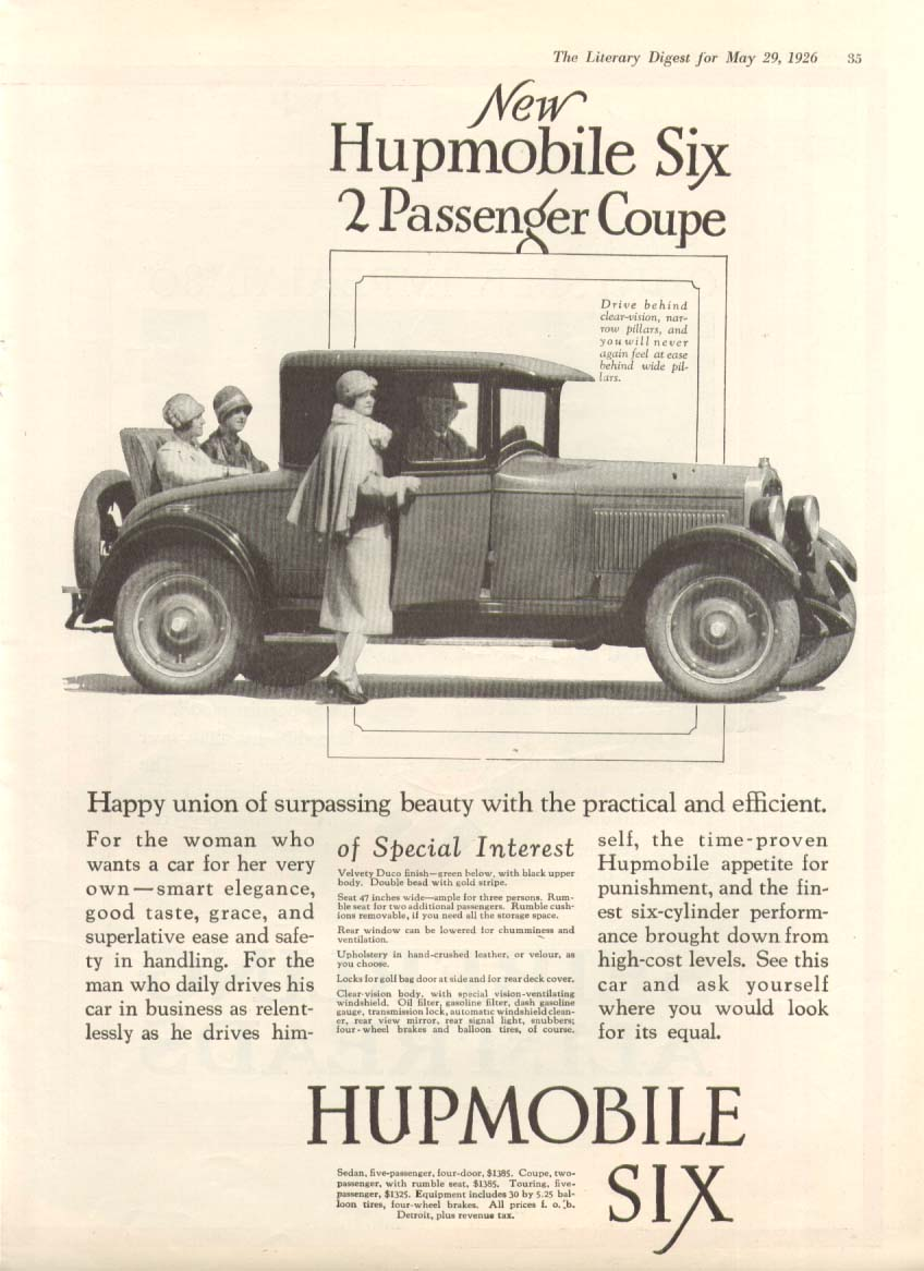 Happy union of surpassing beauty Hupmobile Six ad 1926