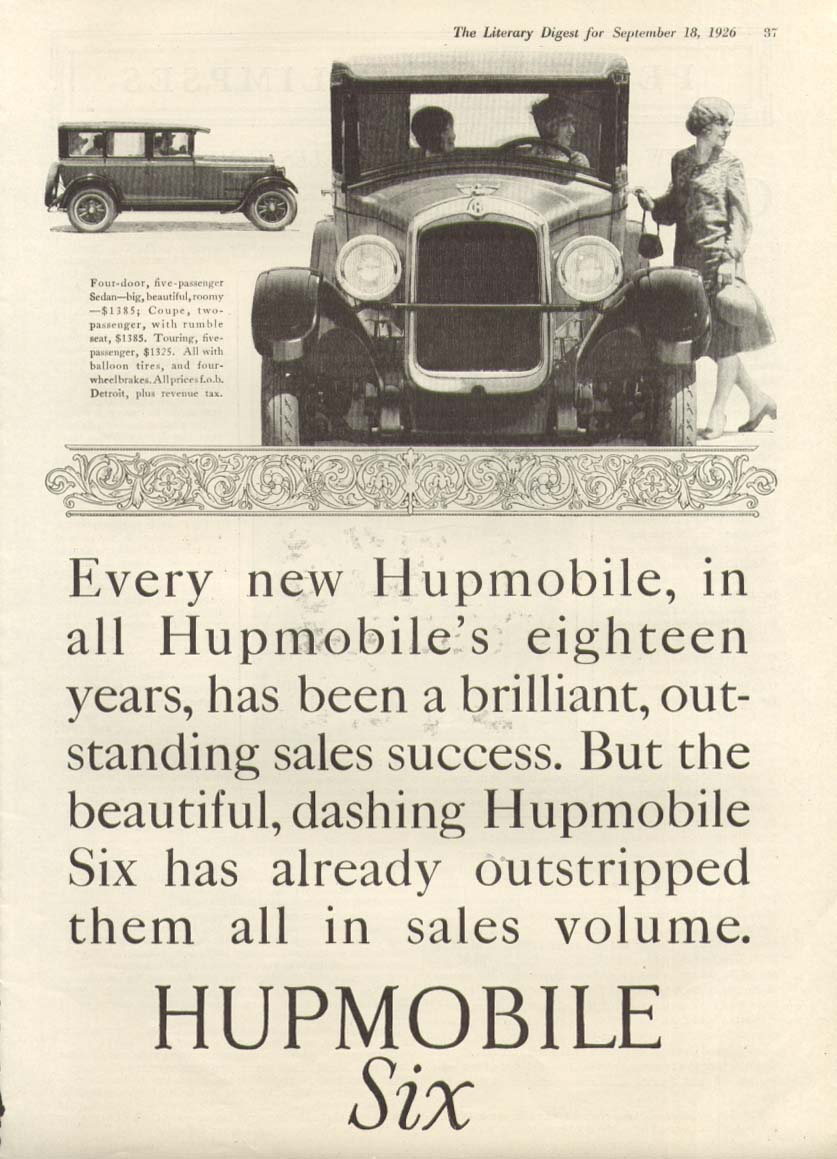 Every new Hupmobile a brilliant sales success ad 1926