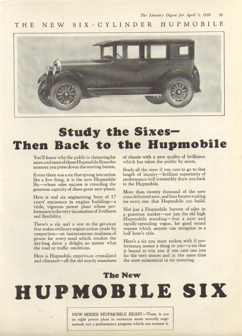 Image for Study the Sixes - Then Back to Hupmobile ad 1926