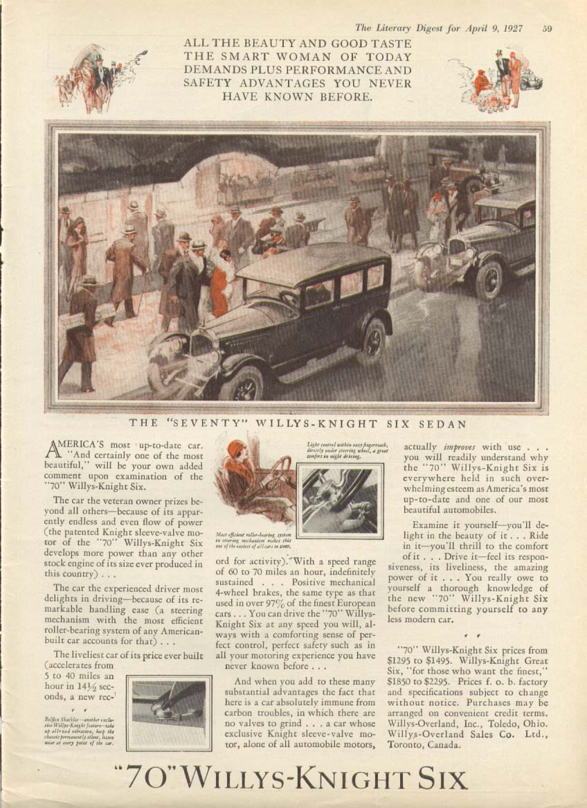 America's most up-to-date car Willys-Knight Six ad 1927