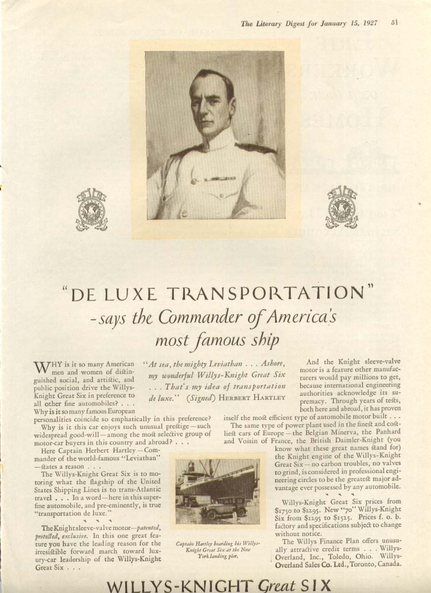 Image for De Luxe Transportation Willys-Knight Great Six ad 1927