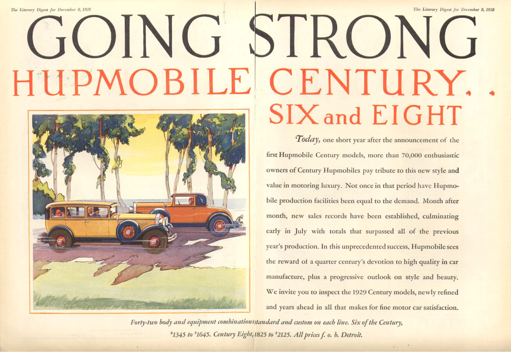 Going Strong Hupmobile Century 6 & 8 ad 1929
