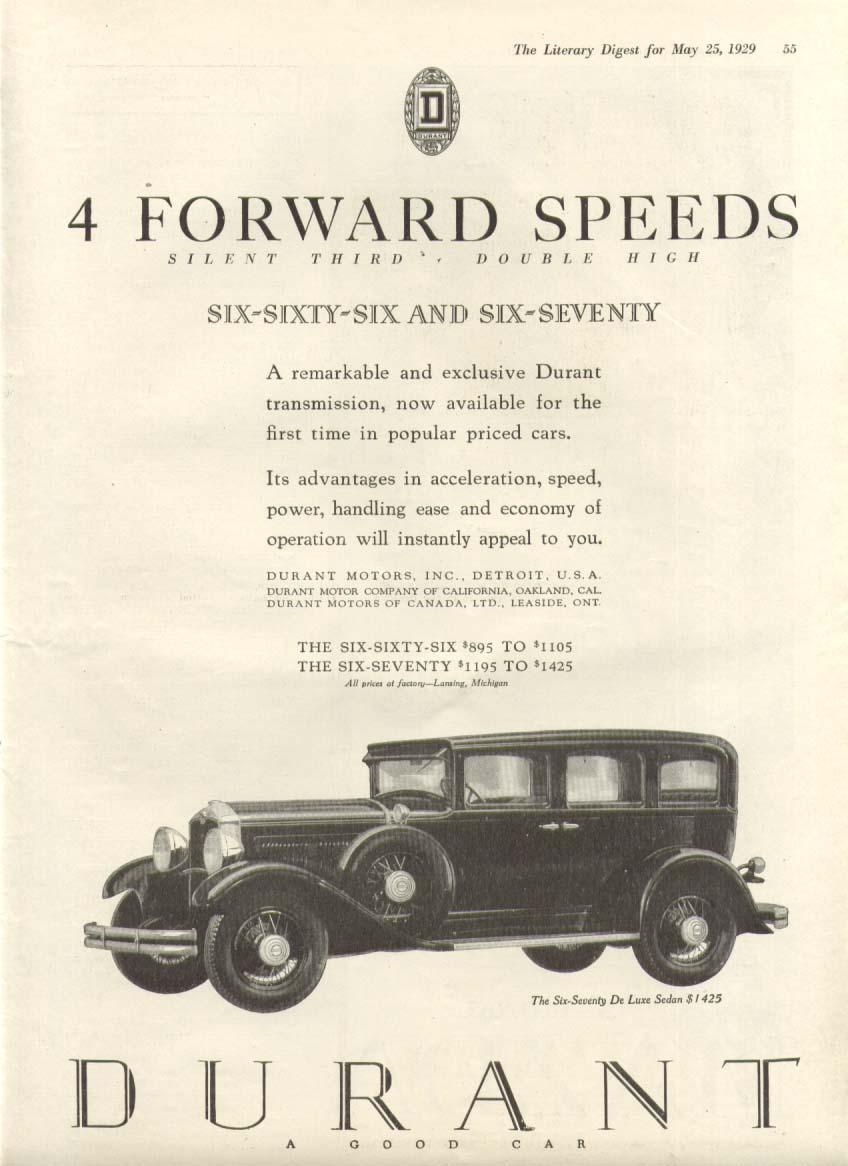 4 Forward Speeds Durant 666 & 670 ad 1929