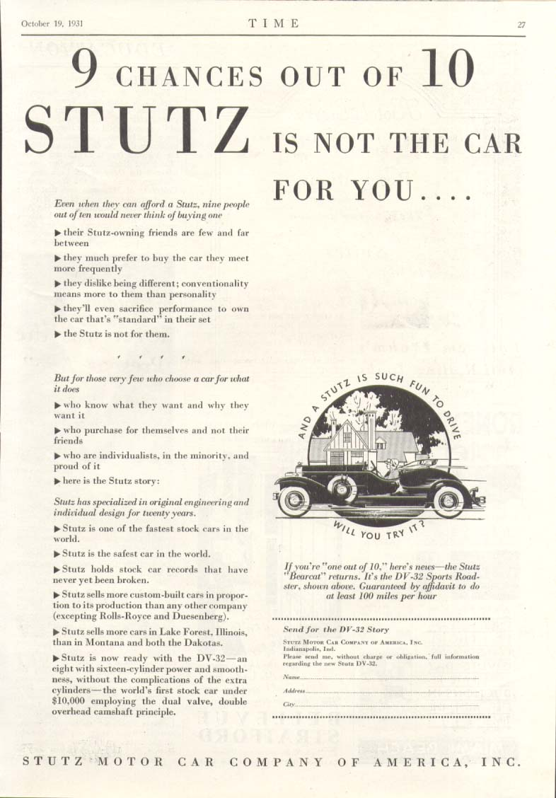 9 chances out of 10 Stutz is not for you ad 1932