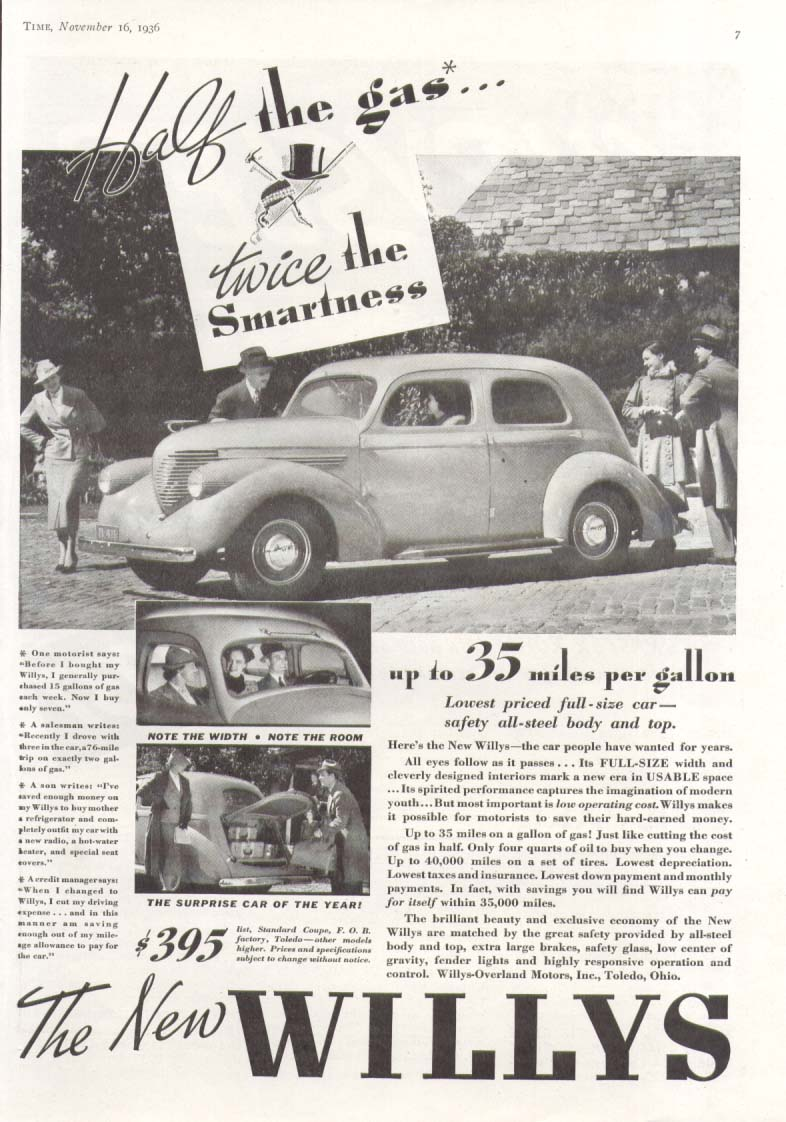 Image for Half the gas twice the smartness Willys ad 1937