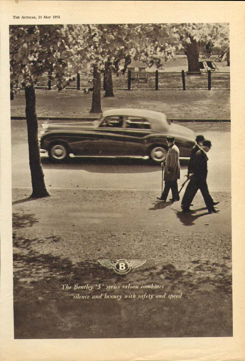 Bentley S series silence luxury safety speed ad 1958