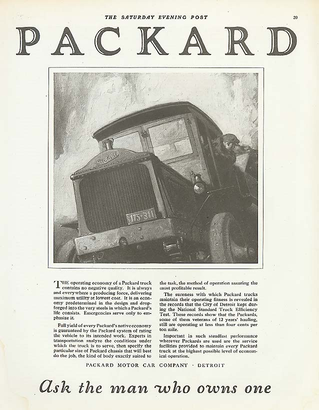 Image for Operating economy Packard Truck ad 1921
