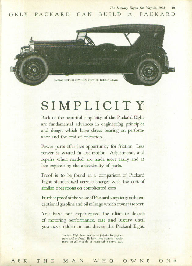Image for Simplicity Packard Touring Car ad 1924