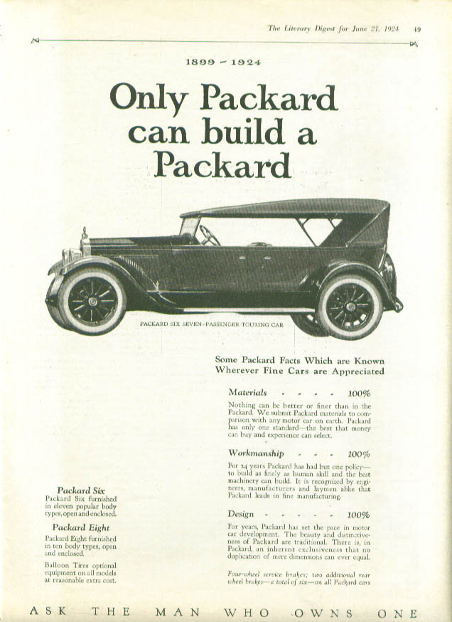 Only Packard can build a Packard Touring ad 1924