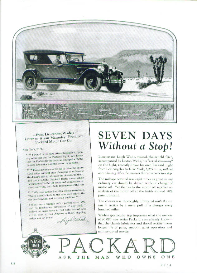 Seven Days Without a Stop! Packard ad 1925