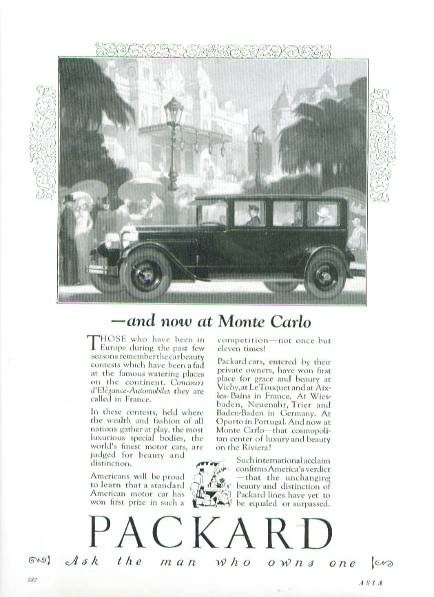 Image for and now at Monte Carlo - Packard ad 1926