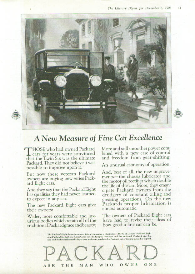 Image for A New Measure of Fine Car Excellence Packard ad 1926