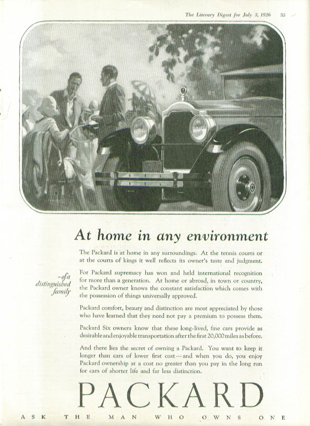 Image for At home in any environment Packard ad 1926