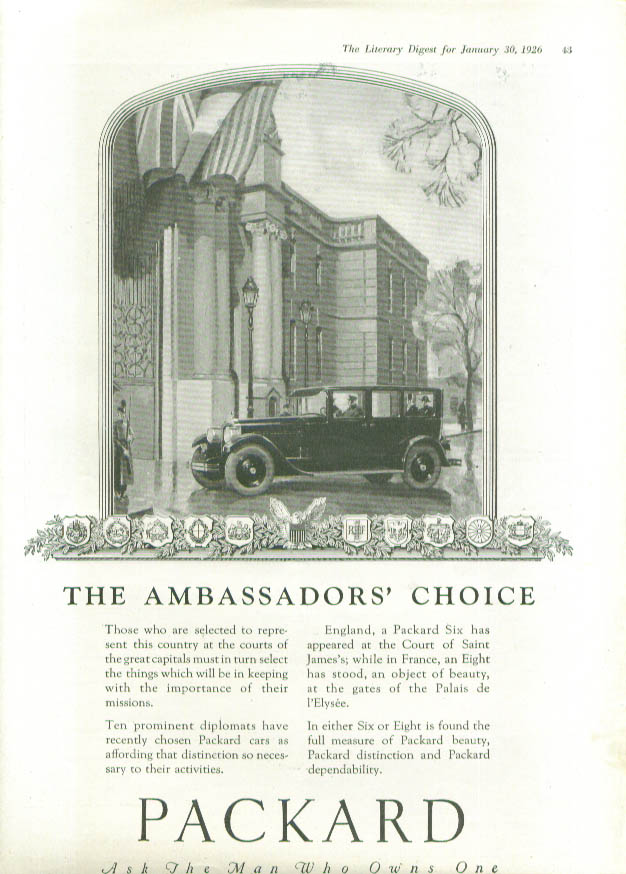 Image for The Ambassador's Choice - Packard ad 1926